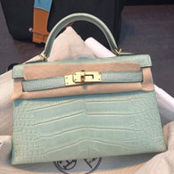 Hermès Kelly 20 Vert d'Eau Sellier Alligator Mississippi Matte Gold Hardware GHW D Stamp 2019