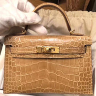 Hermès Kelly 20 Beige Sable Sellier Alligator Mississippi Lisse Gold Hardware GHW D Stamp 2019