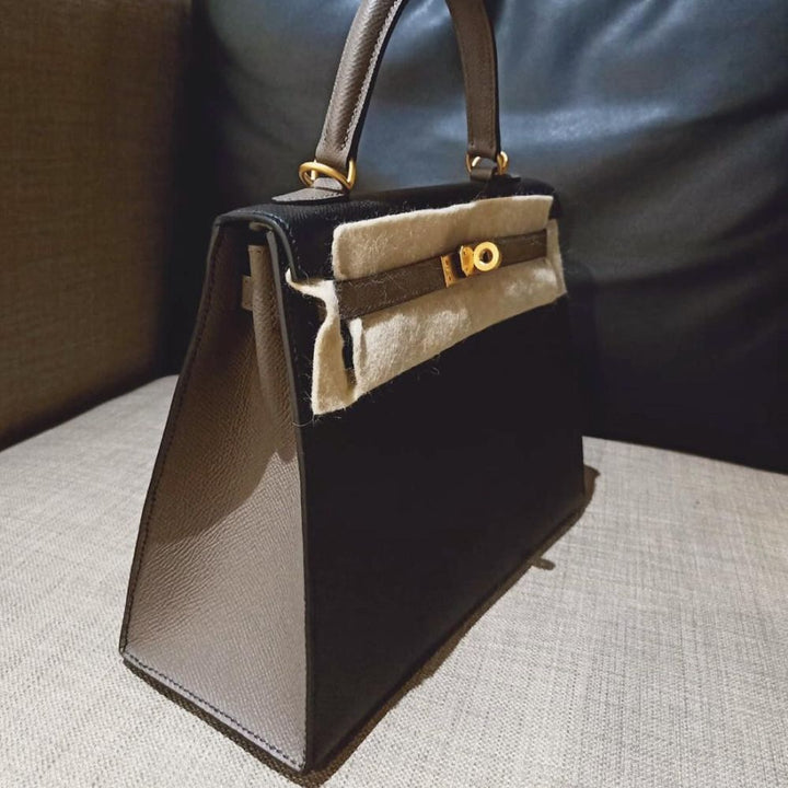 Hermès Kelly 25 Noir (Black)/Gris Etain Epsom Brushed Gold Hardware BGHW D Stamp 2019