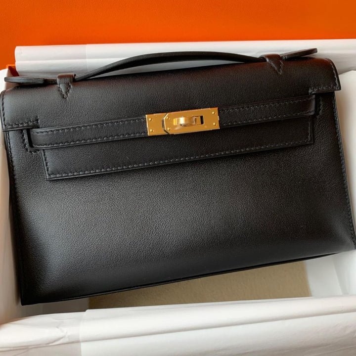 Hermès Kelly Pochette Noir (Black) Swift Gold Hardware GHW