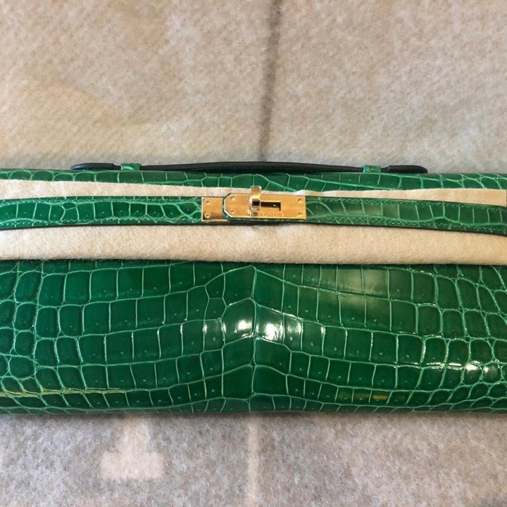Hermès Kelly Cut Cactus Crocodile Niloticus Lisse Gold Hardware GHW C Stamp 2018