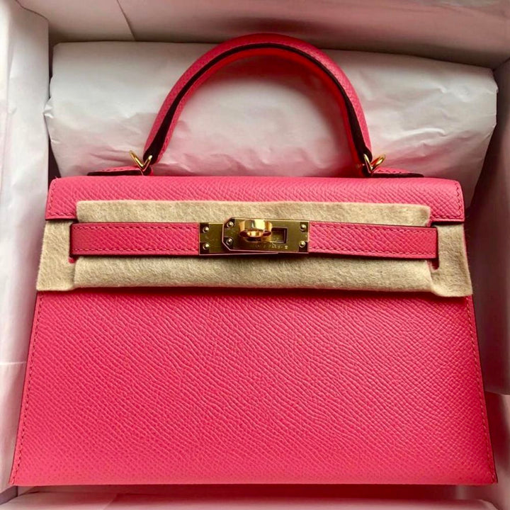 Hermès Kelly 20 Rose Azalee Sellier Epsom Gold Hardware GHW C Stamp 2018