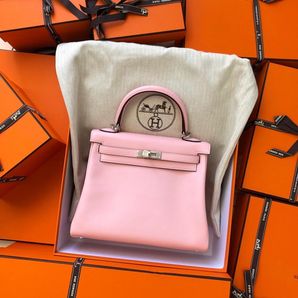 Hermès Kelly 25 Rose Sakura Swift Palladium Hardware PHW