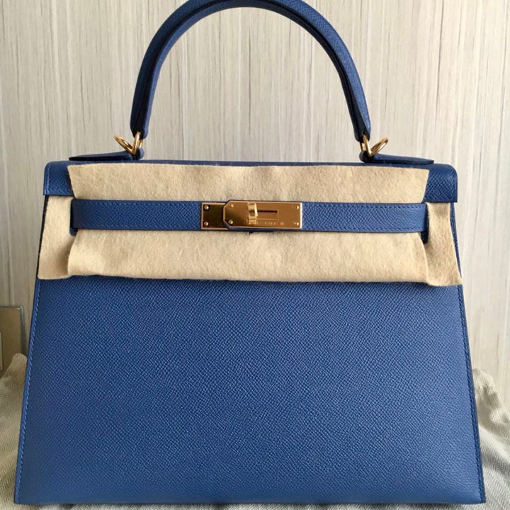 Hermès Kelly 28 Bleu Brighton Sellier Epsom Gold Hardware GHW