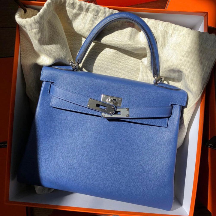 Hermès Kelly Limited Edition 28 Bleu Brighton/Capucine Verso Evercolor Palladium Hardware PHW