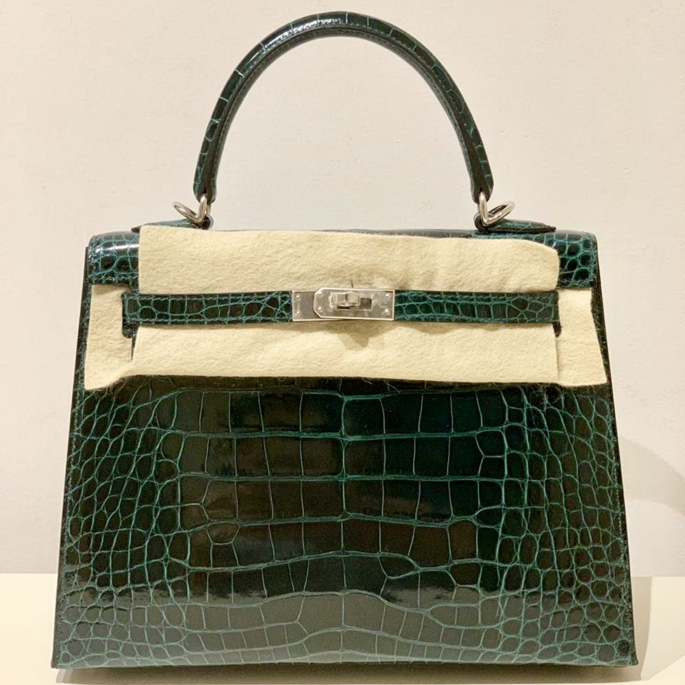 Hermès Kelly 25 Vert Cyprès Sellier Alligator Mississippi Lisse Palladium Hardware PHW
