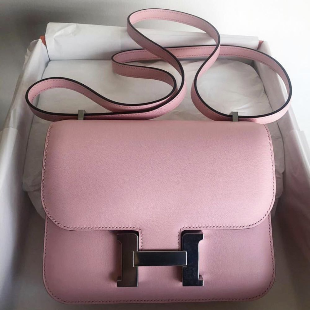 Hermès Constance 18 Rose Sakura Swift Palladium Hardware PHW