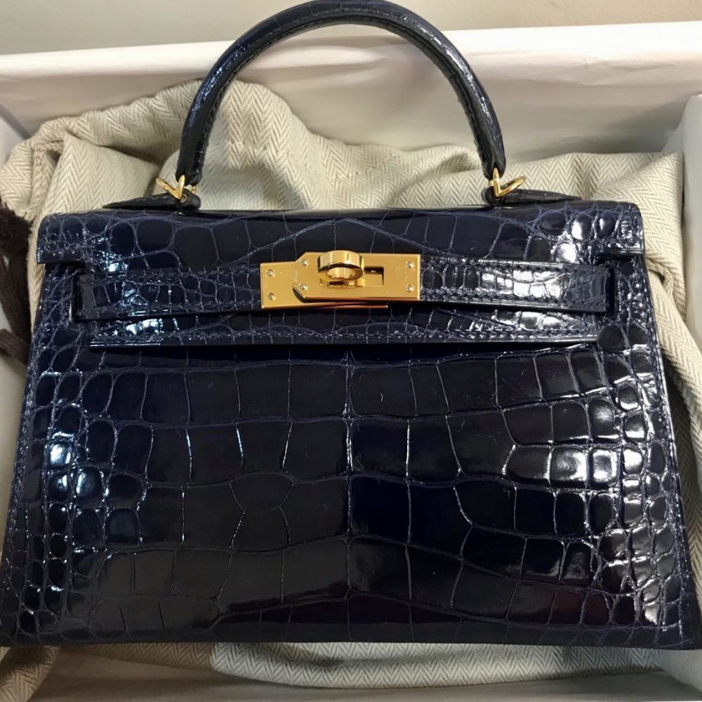 Hermès Kelly 20 Bleu Saphir Sellier Alligator Mississippi Lisse Gold Hardware GHW