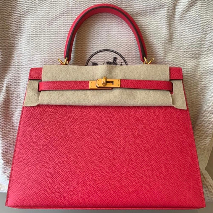 Hermès Kelly 25 Rose Extreme Sellier Epsom Gold Hardware GHW