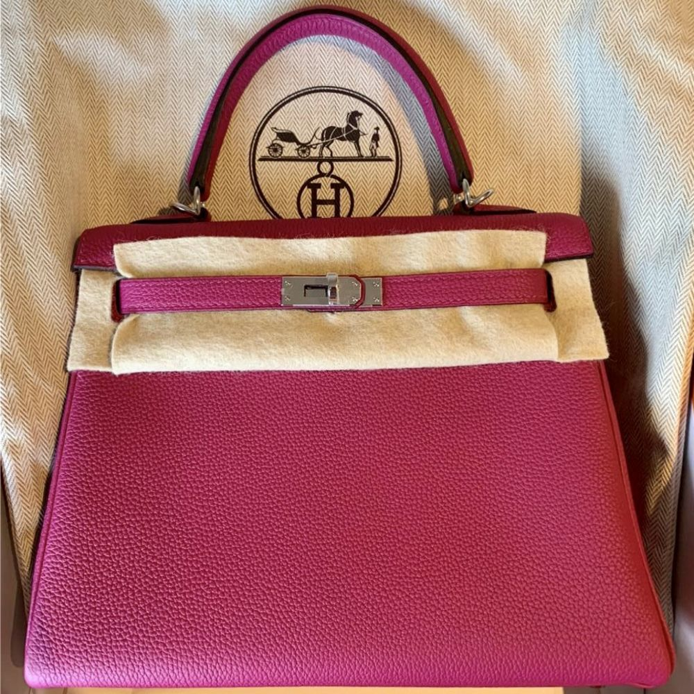 Hermès Kelly 25 Rose Pourpre Togo Palladium Hardware PHW