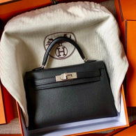 Hermès Kelly 20 Noir (Black) Sellier Epsom Palladium Hardware PHW D Stamp 2019