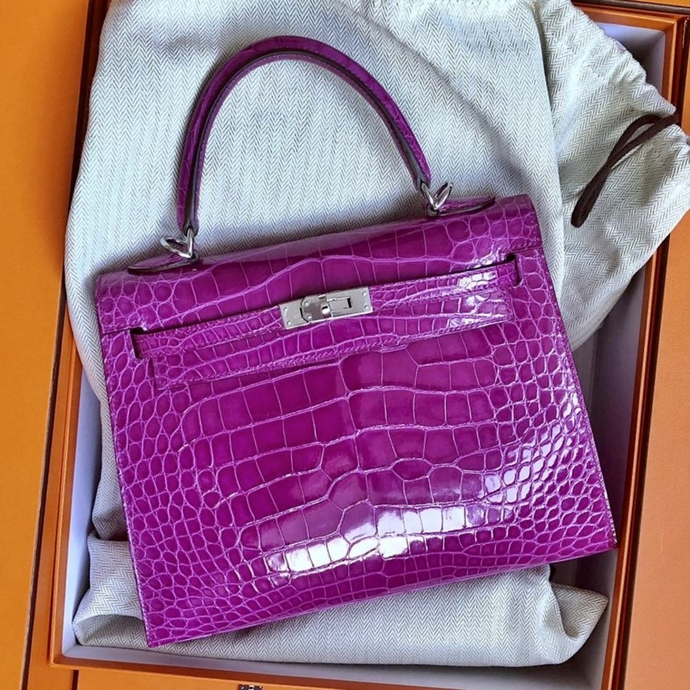 Hermès Kelly 25 Rose Sheherazade Sellier Alligator Mississippi Lisse Palladium Hardware PHW