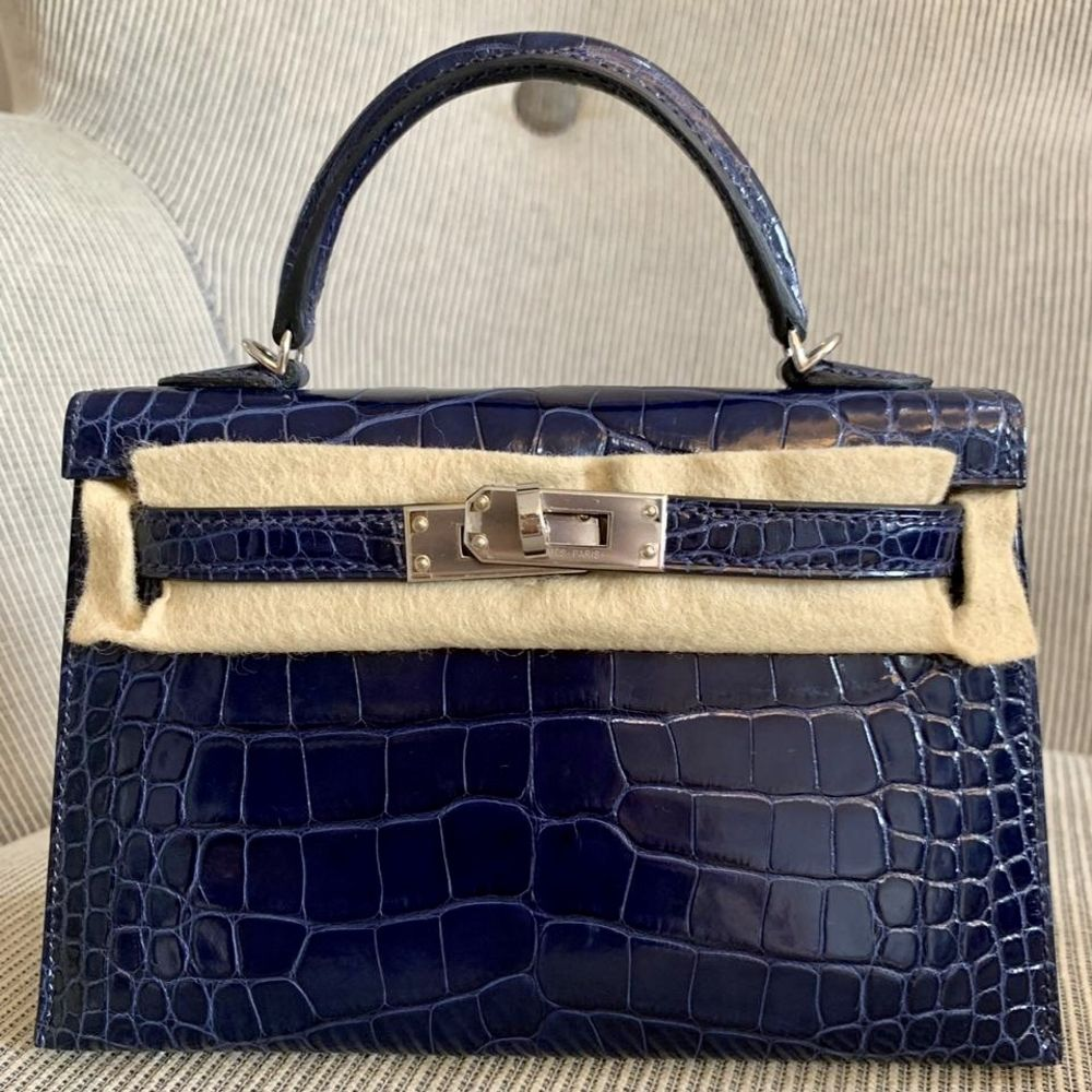 Hermès Kelly 20 Bleu Saphir Sellier Alligator Mississippi Lisse Palladium Hardware PHW