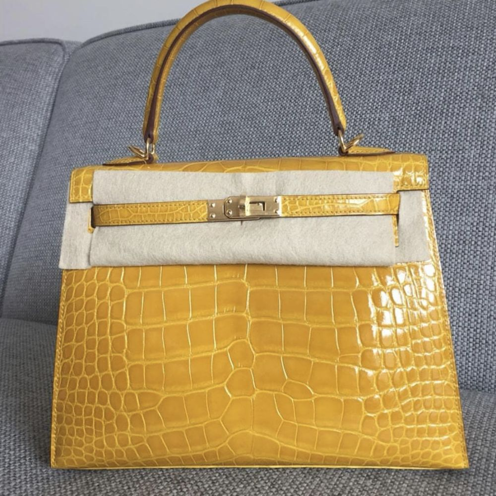 Hermès Kelly 25 Jaune Ambre Alligator Mississippi Lisse Gold Hardware GHW