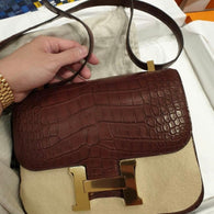 Hermès Constance 24 Bordeaux Alligator Mississippi Matte Gold Hardware GHW