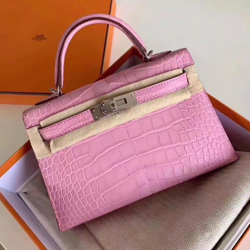 Hermès Kelly 20 Pink Sellier Alligator Mississippi Matte Palladium Hardware PHW