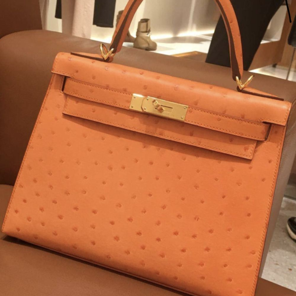 Hermès Kelly 28 Abricot Sellier Ostrich Gold Hardware GHW