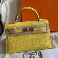 Hermès Kelly 20 Mimosa Sellier Alligator Mississippi Matte Gold Hardware GHW