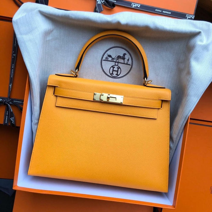 Hermès Kelly 28 Jaune Ambre/Malachite Sellier Epsom Gold Hardware GHW