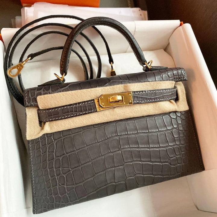 Hermès Kelly 20 Graphite Alligator Mississippi Matte Gold Hardware GHW