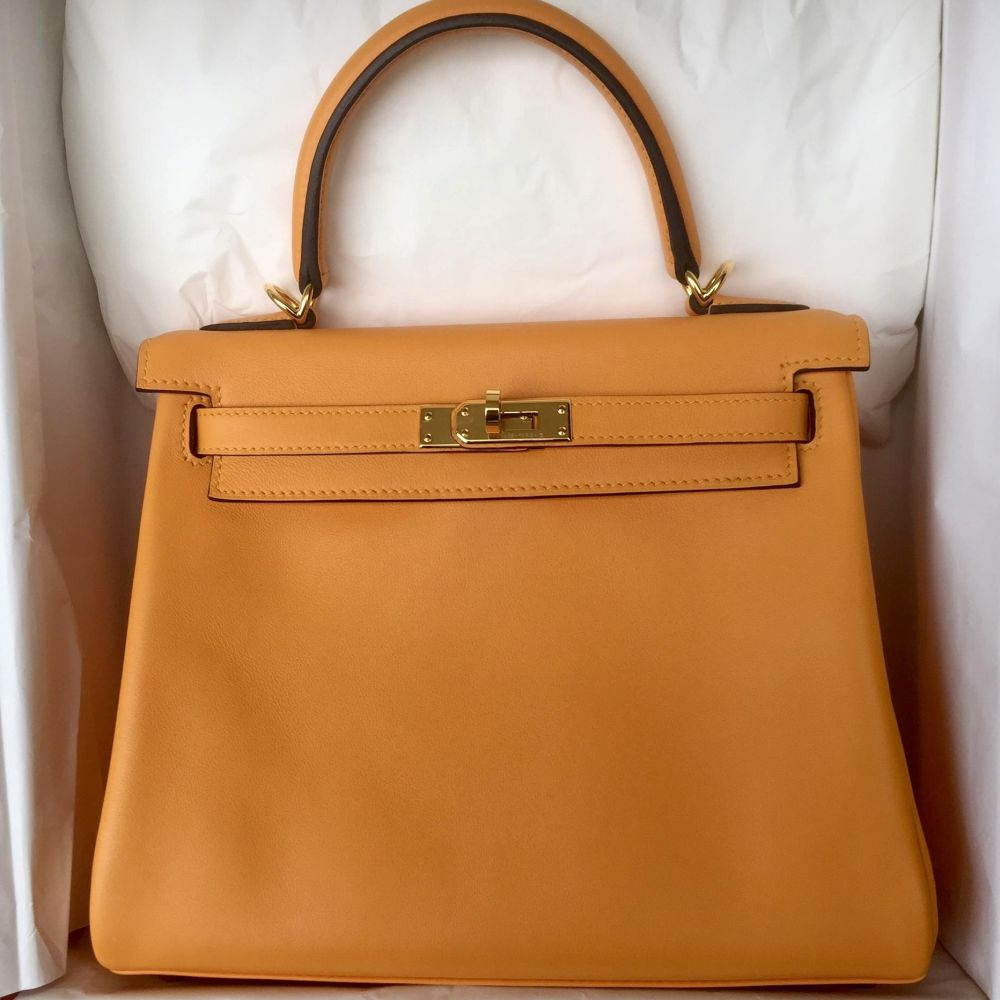 Hermès Kelly HSS 25 Jaune d'Or/Gris Etain Swift Gold Hardware GHW