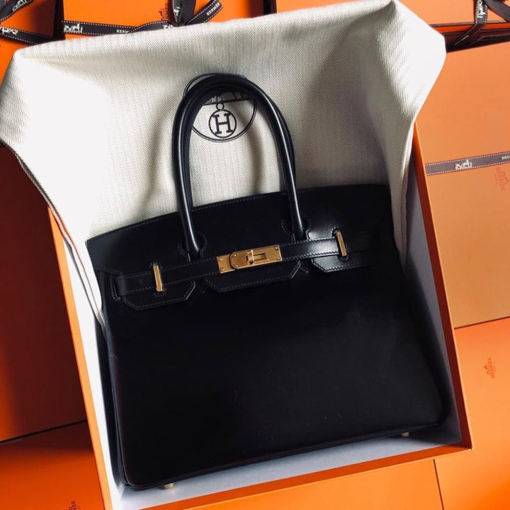 Hermès Birkin 30 Noir (Black) Box Gold Hardware GHW
