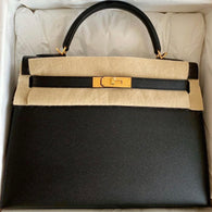 Hermès Kelly 32 Noir (Black) Sellier Epsom Gold Hardware GHW