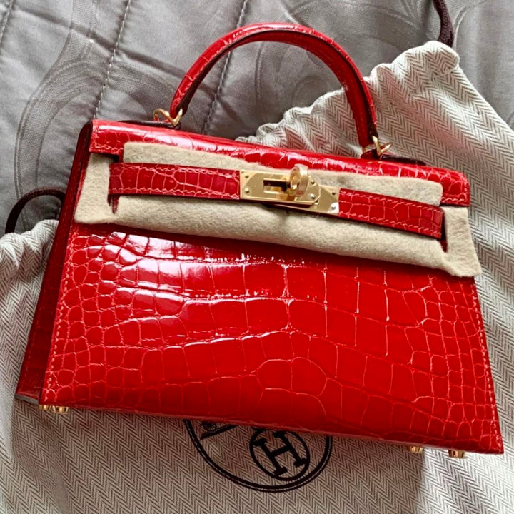 Hermès Kelly 20 Geranium Sellier Alligator Mississippi Lisse Gold Hardware GHW