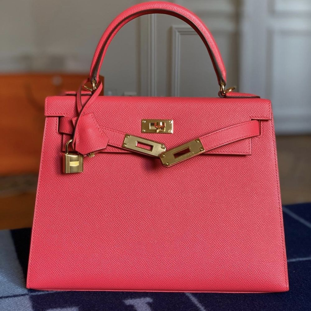 Hermès Kelly 28 Rose Extreme Sellier Epsom Gold Hardware GHW