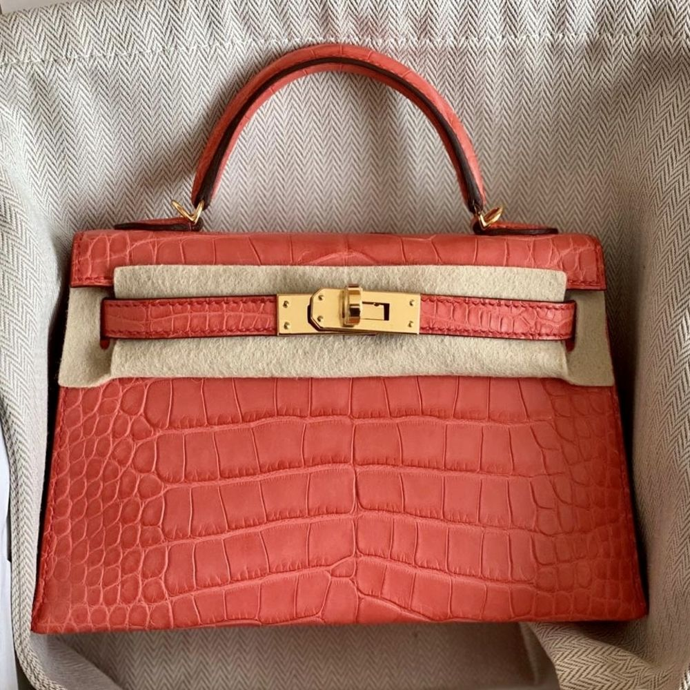 Hermès Kelly 20 Bougainvillier Sellier Alligator Mississippi Matte Gold Hardware GHW