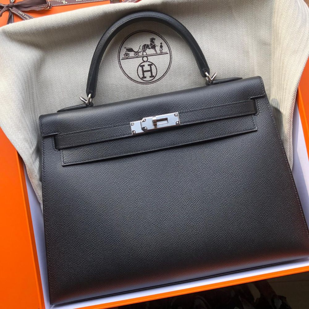 Hermès Kelly 32 Noir (Black) Sellier Epsom Palladium Hardware PHW