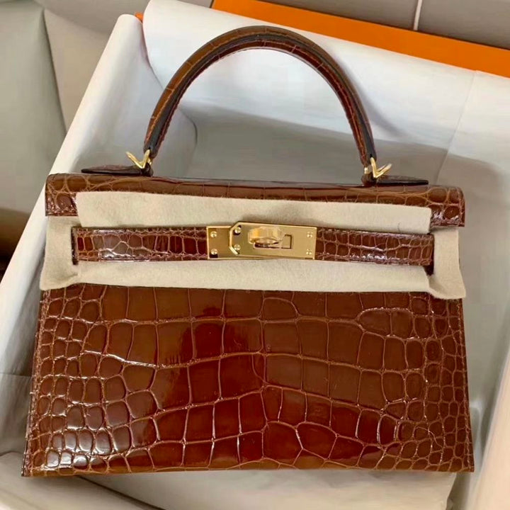 Hermès Kelly 20 Miel Sellier Alligator Mississippi Lisse Gold Hardware GHW