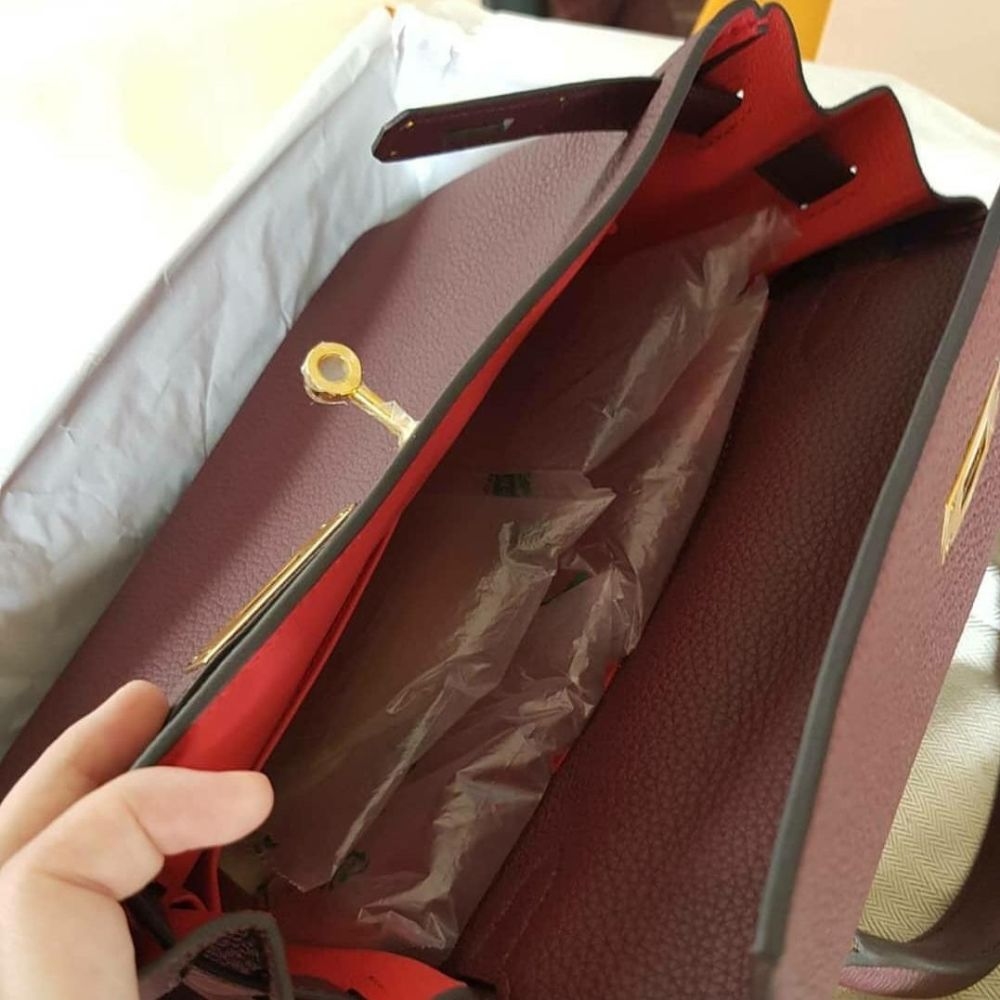Hermès Kelly HSS 28 Bordeaux/Rose Extreme Togo Gold Hardware GHW