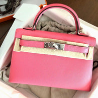 Hermès Kelly 20 Rose Azalee Sellier Epsom Palladium Hardware PHW