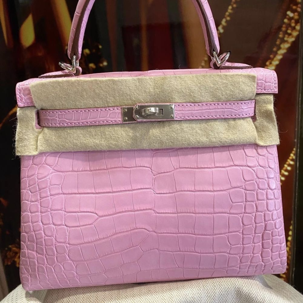 Hermès Kelly 25 Pink Bubblegum Alligator Mississippi Matte Palladium Hardware PHW