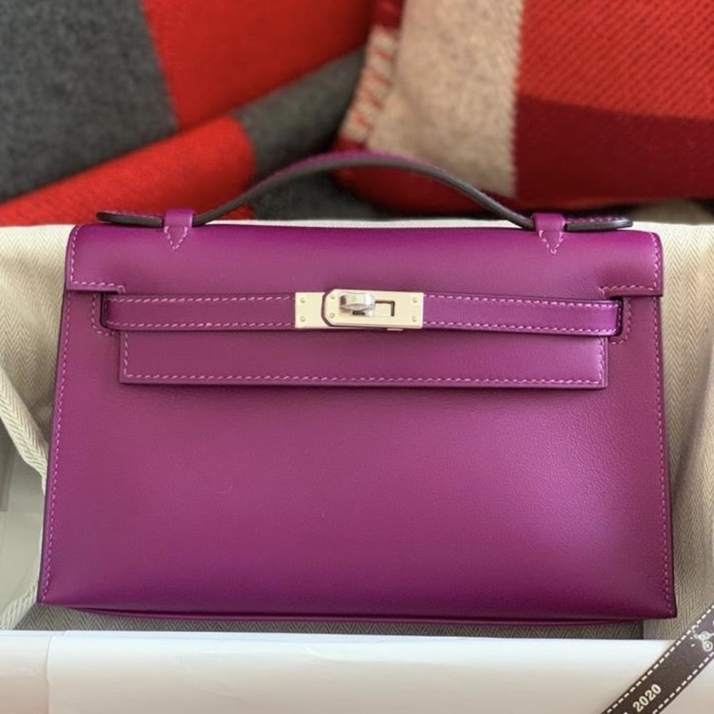 Hermès Kelly Pochette Anemone Swift Palladium Hardware PHW