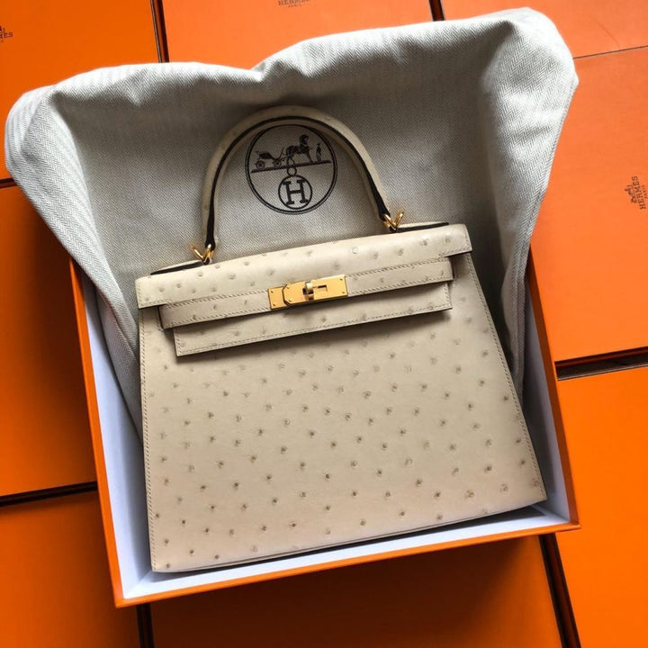 Hermès Kelly 28 Parchemin Sellier Ostrich Gold Hardware GHW