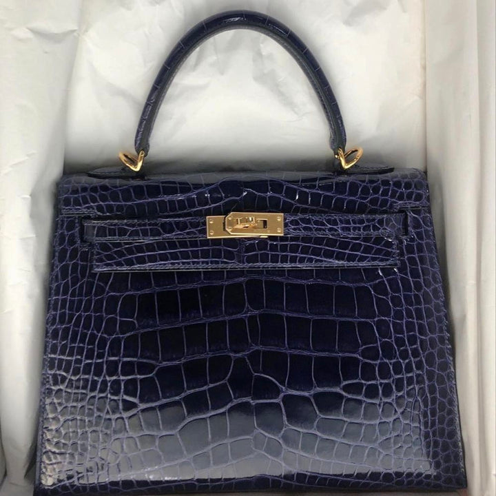 Hermès Kelly 25 Bleu Encre Sellier Alligator Mississippi Lisse Gold Hardware GHW