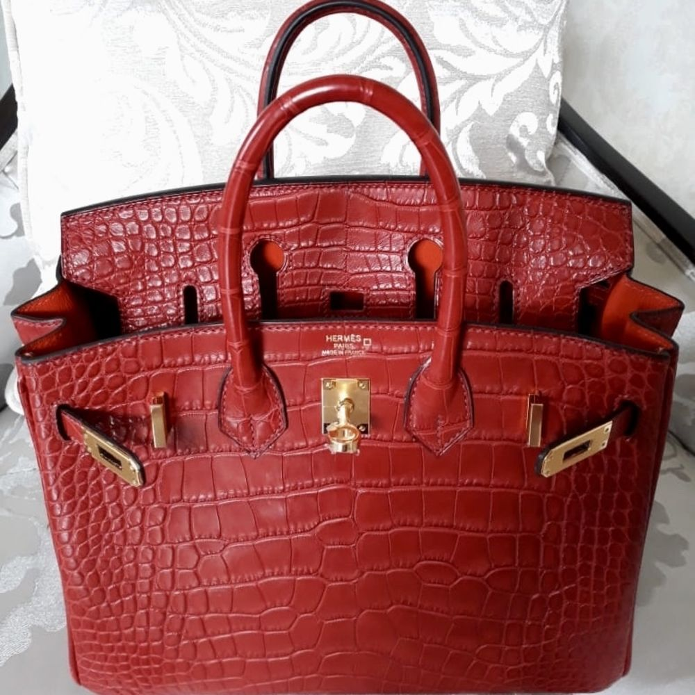 Hermès Birkin Limited Edition 25 Rouge H/Orange Poppy Verso Alligator Mississippi Matte Gold Hardware GHW