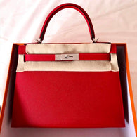 Hermès Kelly 28 Rouge Casaque Sellier Epsom Palladium Hardware PHW