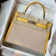 Hermès Kelly 28 Jaune de Naples Sellier Toile Palladium Hardware PHW