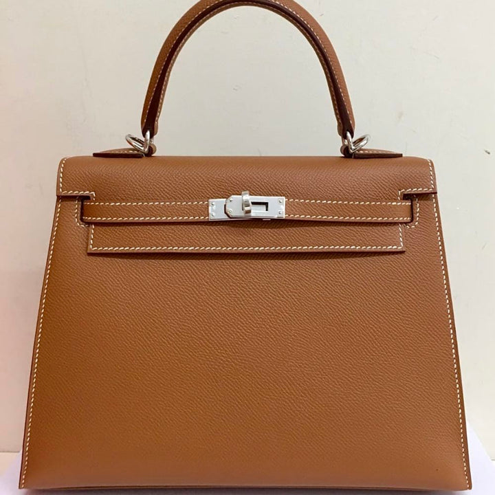 Hermès Kelly 25 Gold Sellier Epsom Palladium Hardware PHW