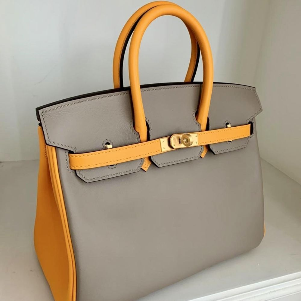 Hermès Birkin HSS 25 Gris Asphalte/Jaune d'Or Swift Brushed Gold Hardware BGHW