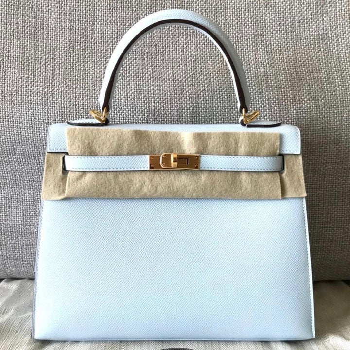 Hermès Kelly 25 Brume Sellier Epsom Gold Hardware GHW