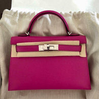 Hermès Kelly 20 Rose Pourpre Sellier Chevre Mysore Palladium Hardware PHW