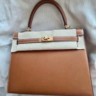 Hermès Kelly 25 Fauve Barenia Natural Gold Hardware GHW