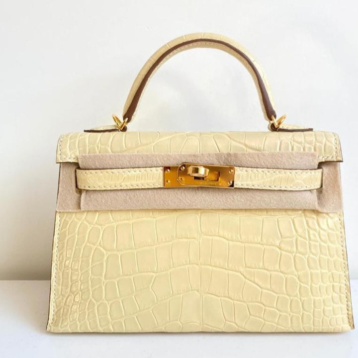 Hermès Kelly 20 Vanille Sellier Alligator Mississippi Matte Gold Hardware GHW