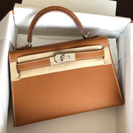 Hermès Kelly 20 Gold Sellier Epsom Palladium Hardware PHW