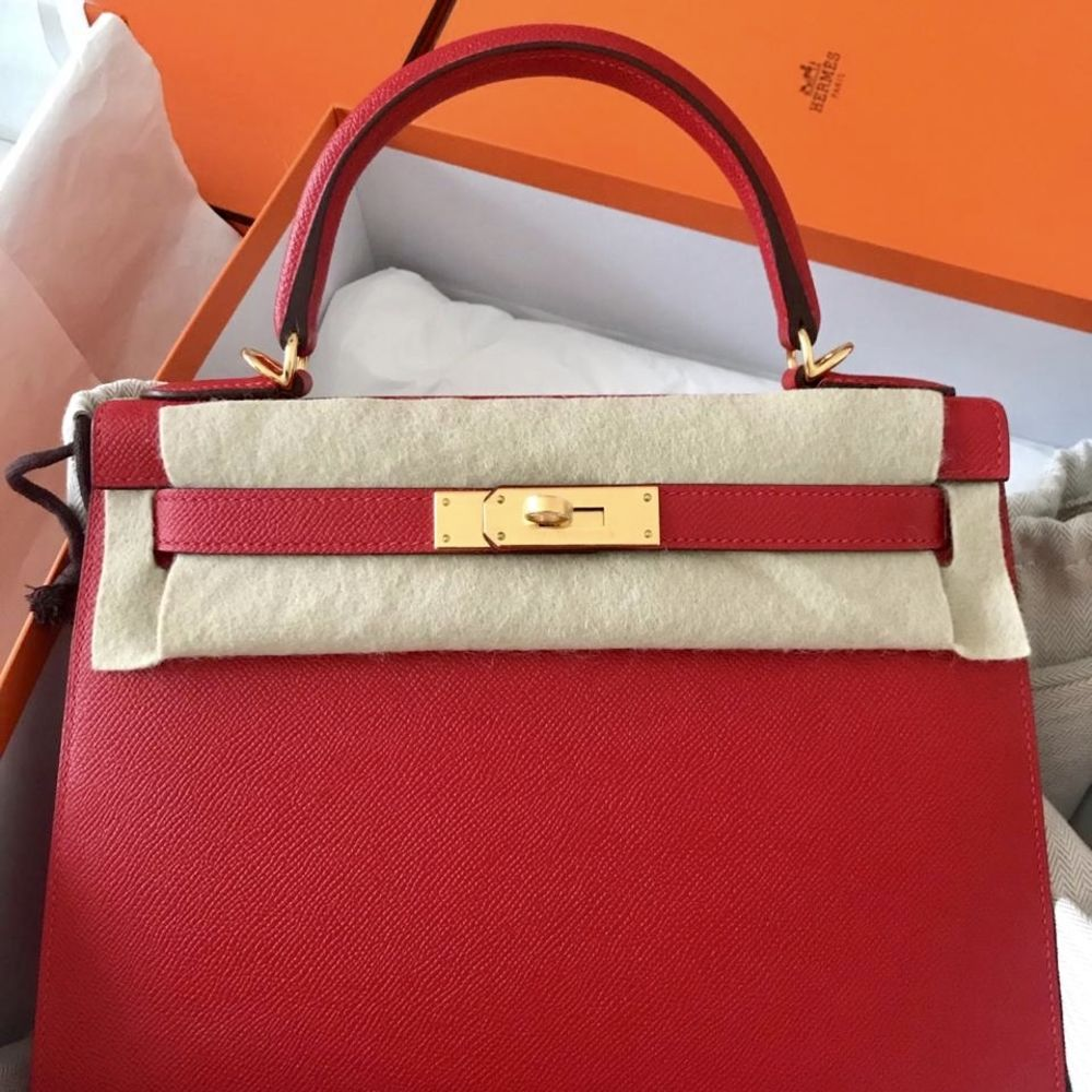 Hermès Kelly 28 Rouge Casaque Sellier Epsom Gold Hardware GHW