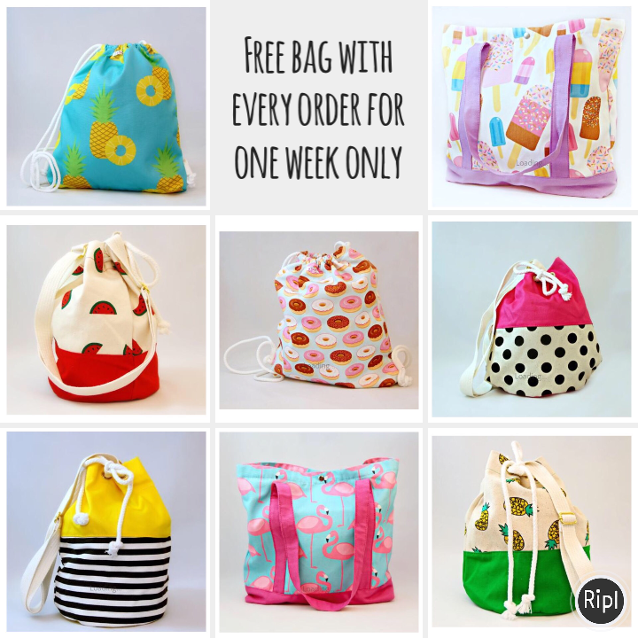 Free bag with every order for one week only!
